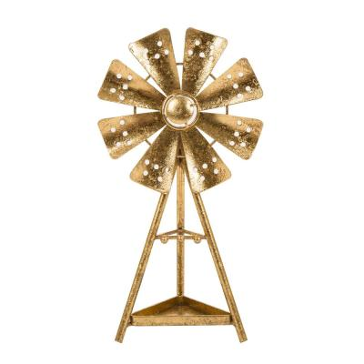 12.99 in. H Gold Accent Windmill Jewelry Holder