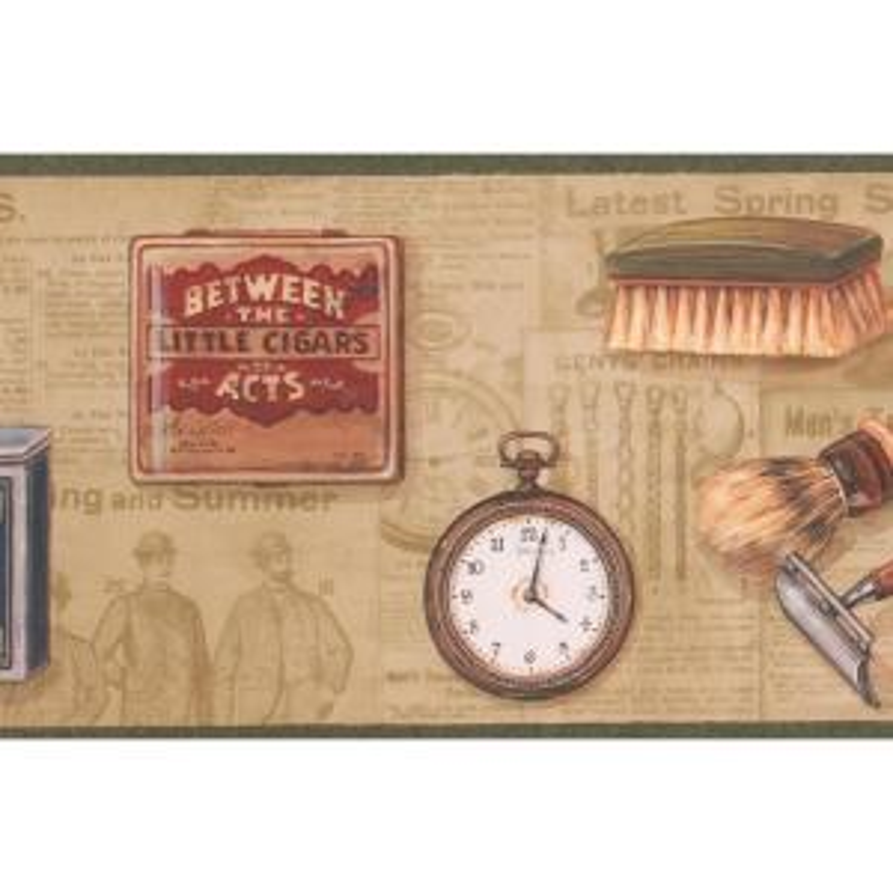 Retro Men Razor Shave Brush Pocket Watch Shoe Brush Pipe Cigar Box Vintage Prepasted Wallpaper Border