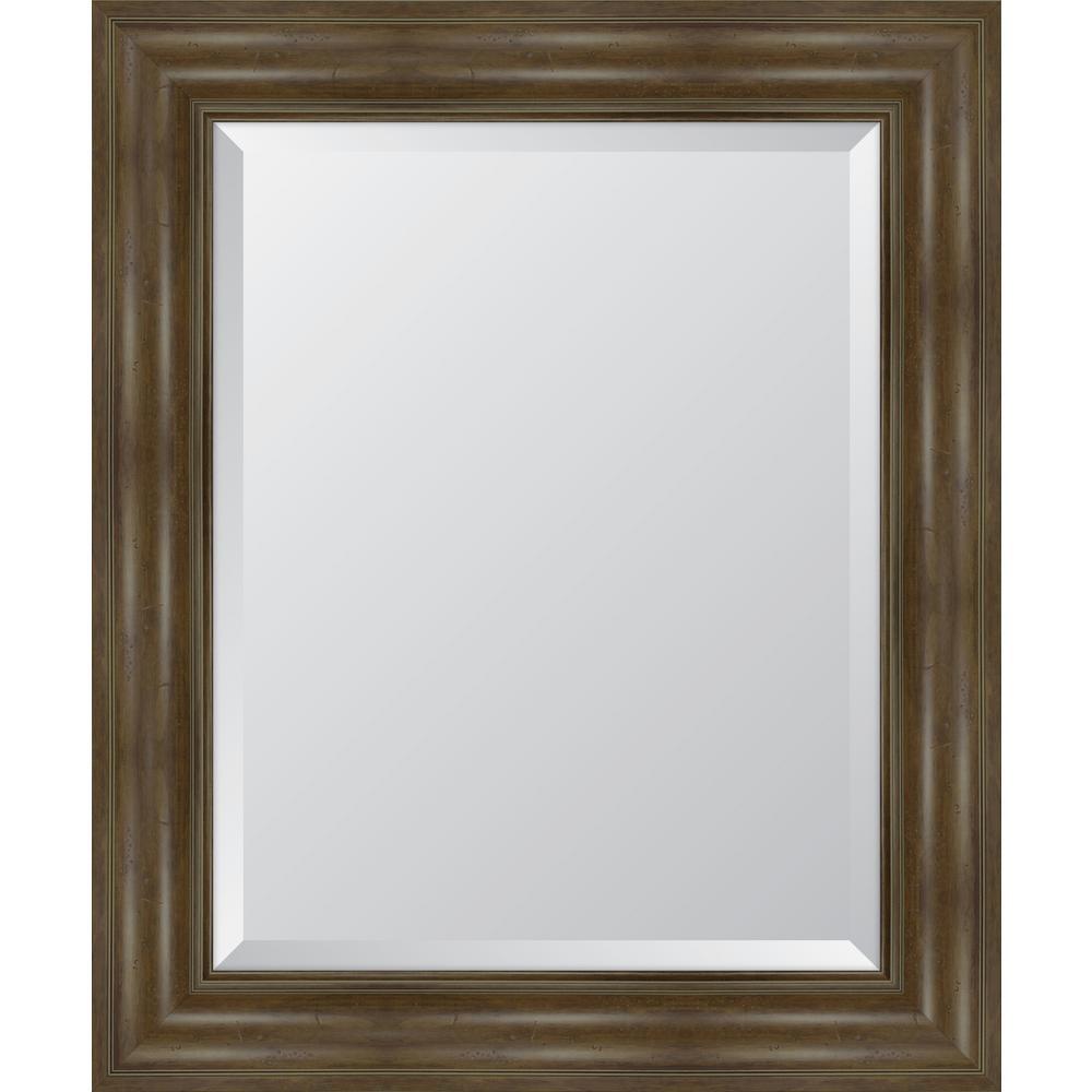 Medium Rectangle Walnut Beveled Glass Classic Mirror (30 in. H x 36 in. W)