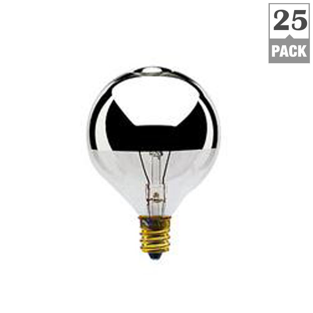 40-Watt G16.5 Half Chrome Dimmable Warm White Light Incandescent Light Bulb (25-Pack)
