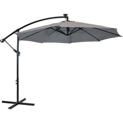 9.5 ft. Offset Cantilever Patio Umbrella in Smoke with Solar LED Lights