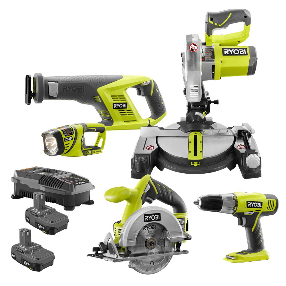 RYOBI RYOBI 18-Volt ONE+ Lithium-Ion Cordless 5-Tool Combo Kit with (2) 1.5 Ah Batteries and (1) 18-Volt Dual Chemistry Charger
