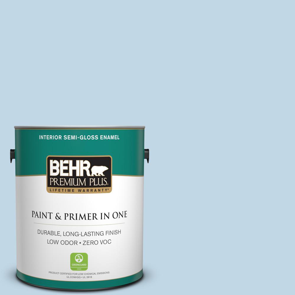 BEHR Premium Plus 1-gal. #S500-1 Distant Shore Semi-Gloss Enamel Interior Paint