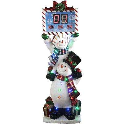 5 ft. Christmas Stacking Snowman Pair with Musical Countdown Clock