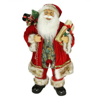 24 in. Old World Style Standing Santa Claus Christmas Figure with Gift Bag and Presents