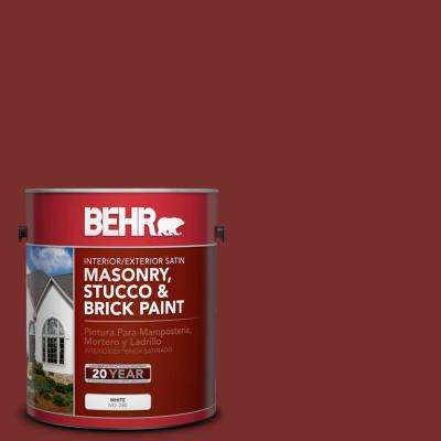 1 gal. #PPU2-02 Red Pepper Satin Interior/Exterior Masonry, Stucco and Brick Paint
