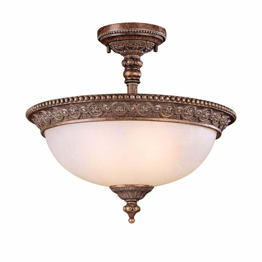 Hampton Bay 2-Light Bronze Semi-Flush Mount Light