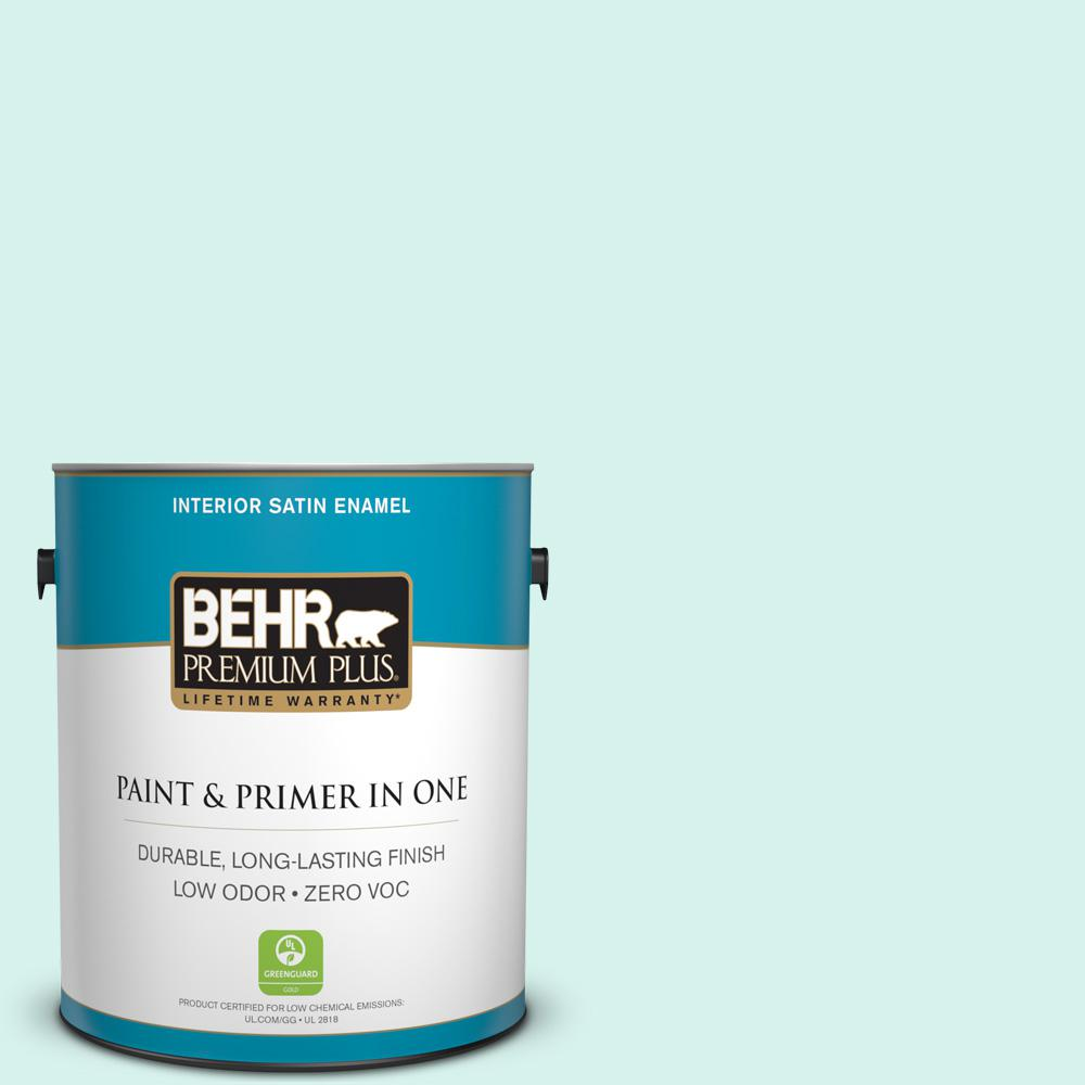 1-gal. #480A-1 Minted Ice Zero VOC Satin Enamel Interior Paint