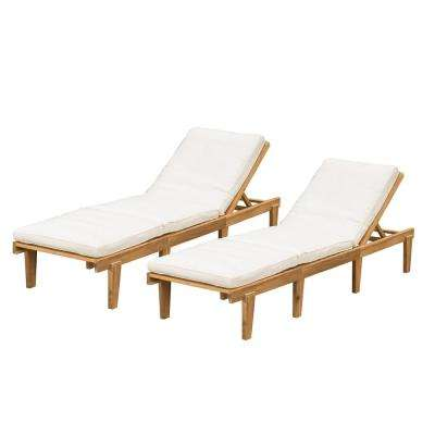 Wyatt Teak 2-Piece Wood Outdoor Chaise Lounge with Cream Cushions