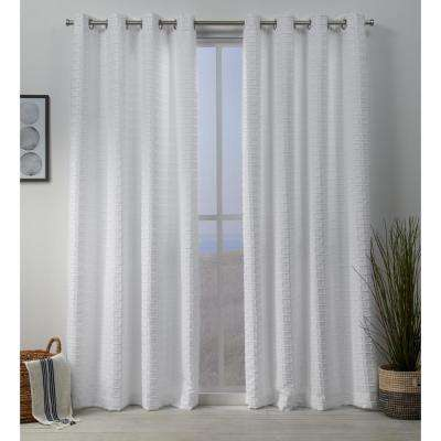 Squared Embellished Grommet Top Curtain Panel Pair in White - 54 in. W x 96 in. L (2-Panel)