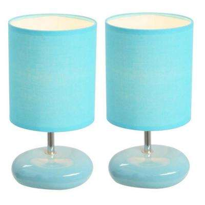 Blue Stonies Small Stone Look Table Bedside Lamp (2 Pack)