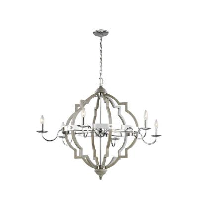 Socorro 40 in. W 6-Light Washed Pine and Chrome Accents Quatrefoil Chandelier with Dimmable Candelabra LED Bulb