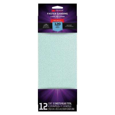 Pro Grade Precision 4 3/16 in. x 11-1/4 in. 120-Grit Drywall Sanding Sheets (12-Pack)