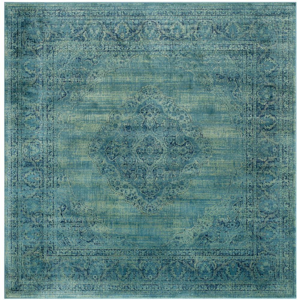 Safavieh Vintage Turquoise And Multi Colored Area Rug: Safavieh Vintage Turquoise/Multi 6 Ft. X 6 Ft. Square Area