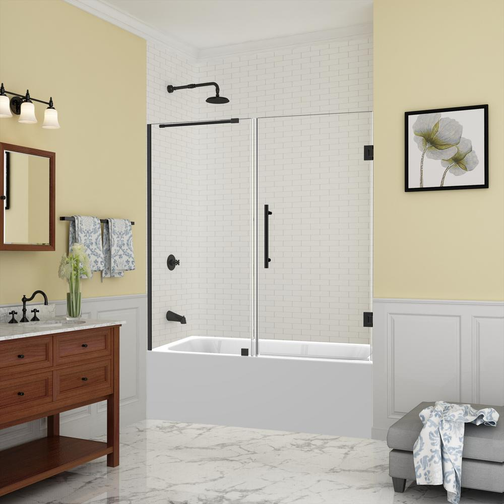 Belmore 59.25 in. to 60.25 in. x 60 in. Frameless Hinged
