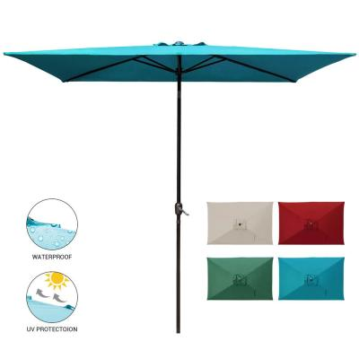 10 ft. x 6.5 ft. Rectangular Market Outdoor Patio Umbrella Table with Push Button Tilt and Crank in Turquoise