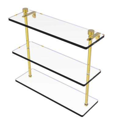 Foxtrot Collection 16 in. Triple Tiered Glass Shelf in Unlacquered Brass