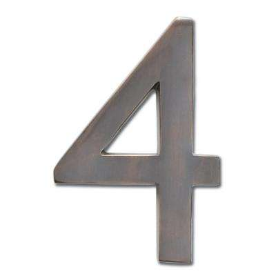 5 in. Dark Aged Copper Floating House Number 4