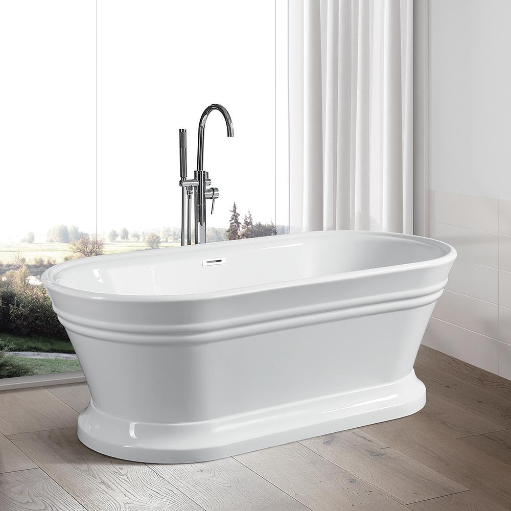 Vanity Art Versailles 67 in. Acrylic Flatbottom Freestanding Bathtub in White
