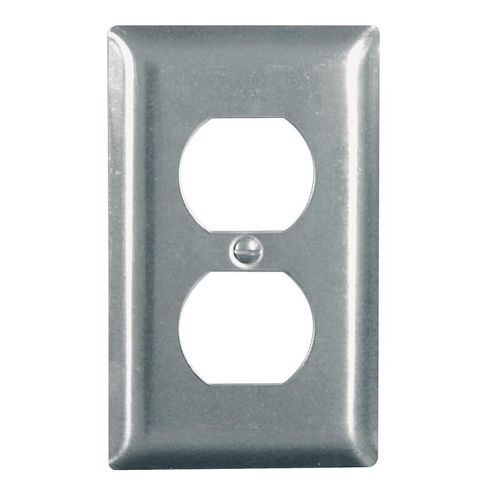 Pass & Seymour 302/304 S/S 1 Gang Duplex Wall Plate, Stainless Steel (1-Pack)
