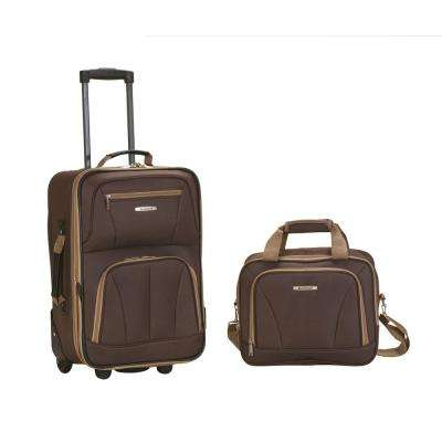 Rockland Rio Expandable 2-Piece Carry On Softside Luggage Set, Brown