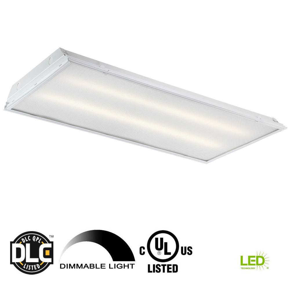 Commercial electric 2 ft x 4 ft 128 watt equivalent prismatic lens integrated led commercial grid ceiling troffer