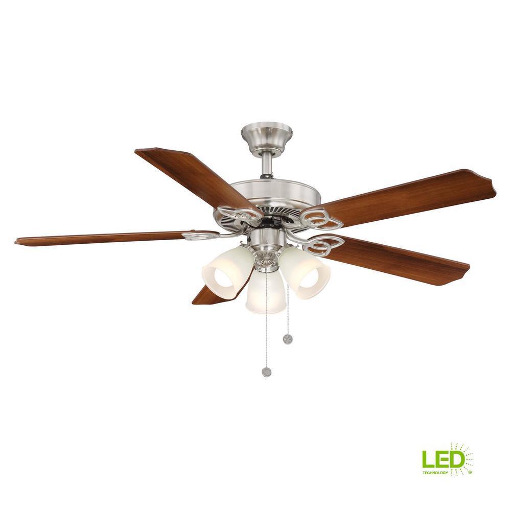 Brookhurst 52 in. LED Indoor Brushed Nickel Ceiling Fan with Light Kit