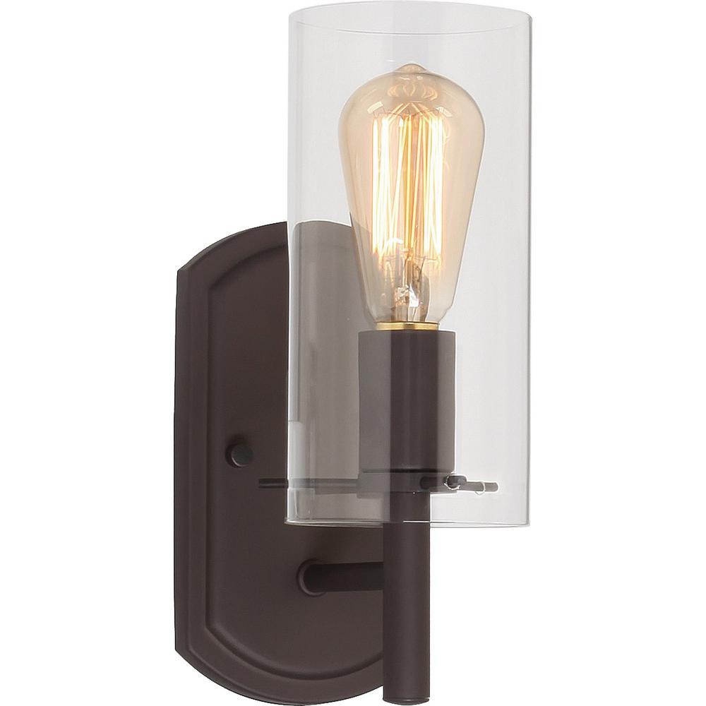 Volume Lighting Regina 1 Light 4 25 In Antique Bronze Indoor Bathroom Vanity Wall Sconce Or Mount With Clear Gl Cylinder Shade