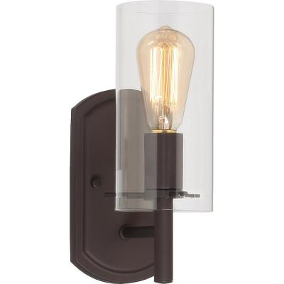 Regina 1-Light 4.25 in. Antique Bronze Indoor Bathroom Vanity Wall Sconce or Wall Mount with Clear Glass Cylinder Shade