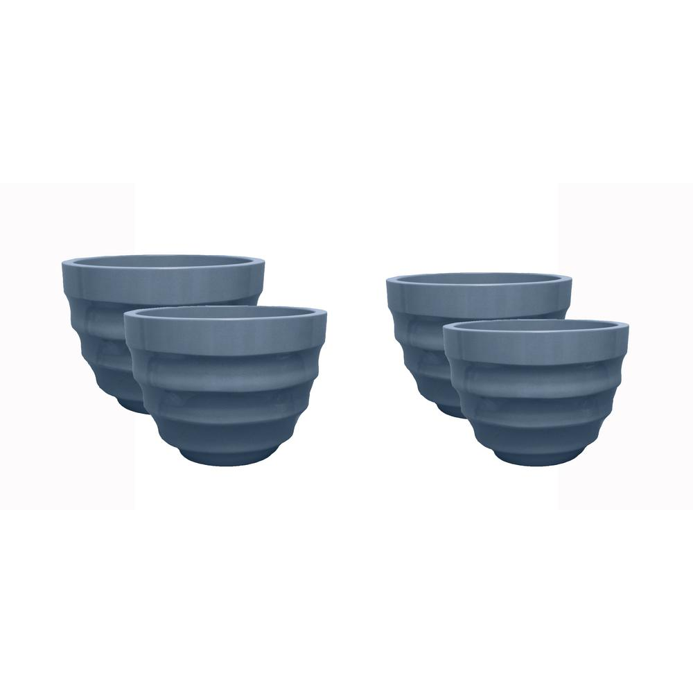 Athena 16 in. Dia and 20 in. Dia Dusty Blue Resin Decorative Planter (4-Pack)