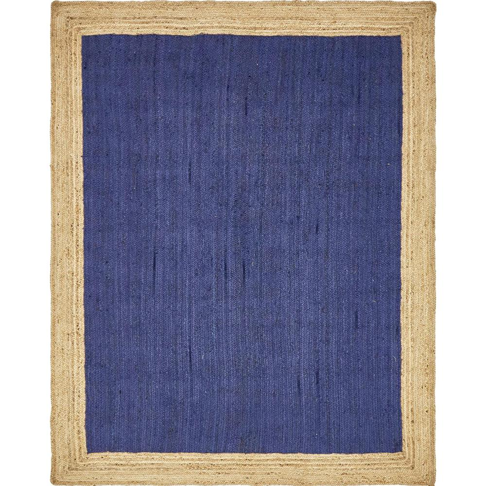 Unique Loom Braided Jute Navy Blue 8 Ft X 10 Ft Area Rug