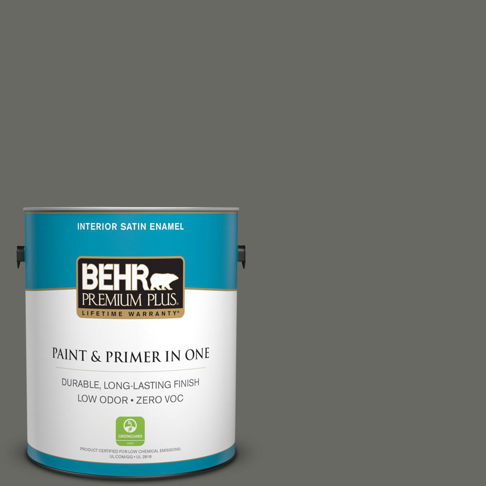 1 gal. #PPU18-18 Mined Coal Zero VOC Satin Enamel Interior Paint