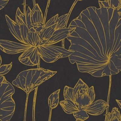 Lotus Metallic Gold and Ebony Floral Wallpaper