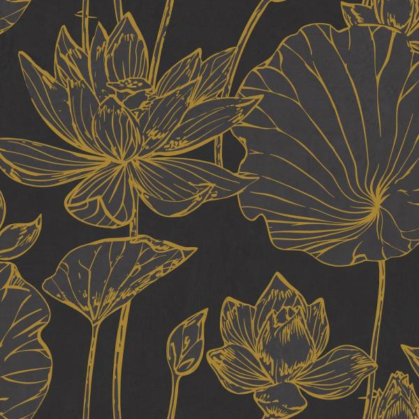 Seabrook Designs Lotus Metallic Gold and Ebony Floral Wallpaper