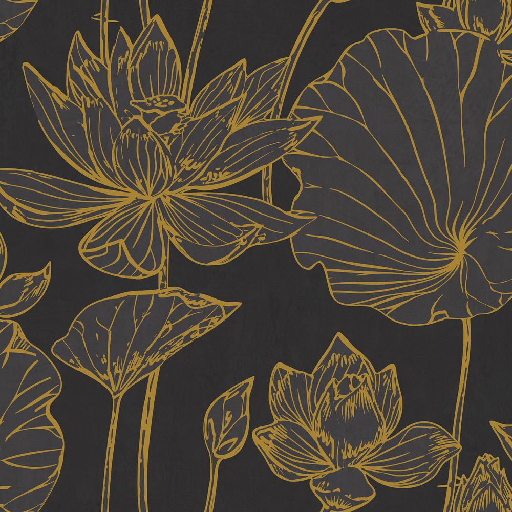 Seabrook Designs Lotus Floral Paper Strippable Roll Covers 60 75 Sq Ft Ai42306 The Home Depot