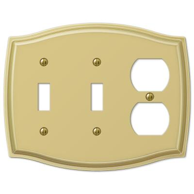 Vineyard 3 Gang 2-Toggle and 1-Duplex Steel Wall Plate - Polished Brass