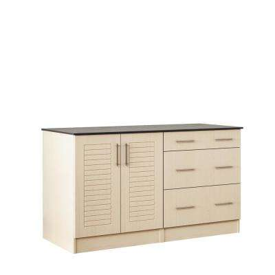 Key West 59.5 in. Outdoor Cabinets with Countertop 2 Full Height Doors and 3-Drawer in Sand