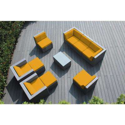 Gray 10-Piece Wicker Patio Seating Set with Sunbrella Sunflower Yellow Cushions
