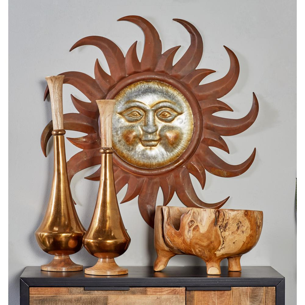 Litton Lane Iron Brown Sun Face With Curved Rays Metal Work