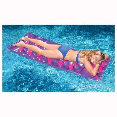 76 in. x 28 in. Assorted Colors 18-Pocket French Mattress Pool Float
