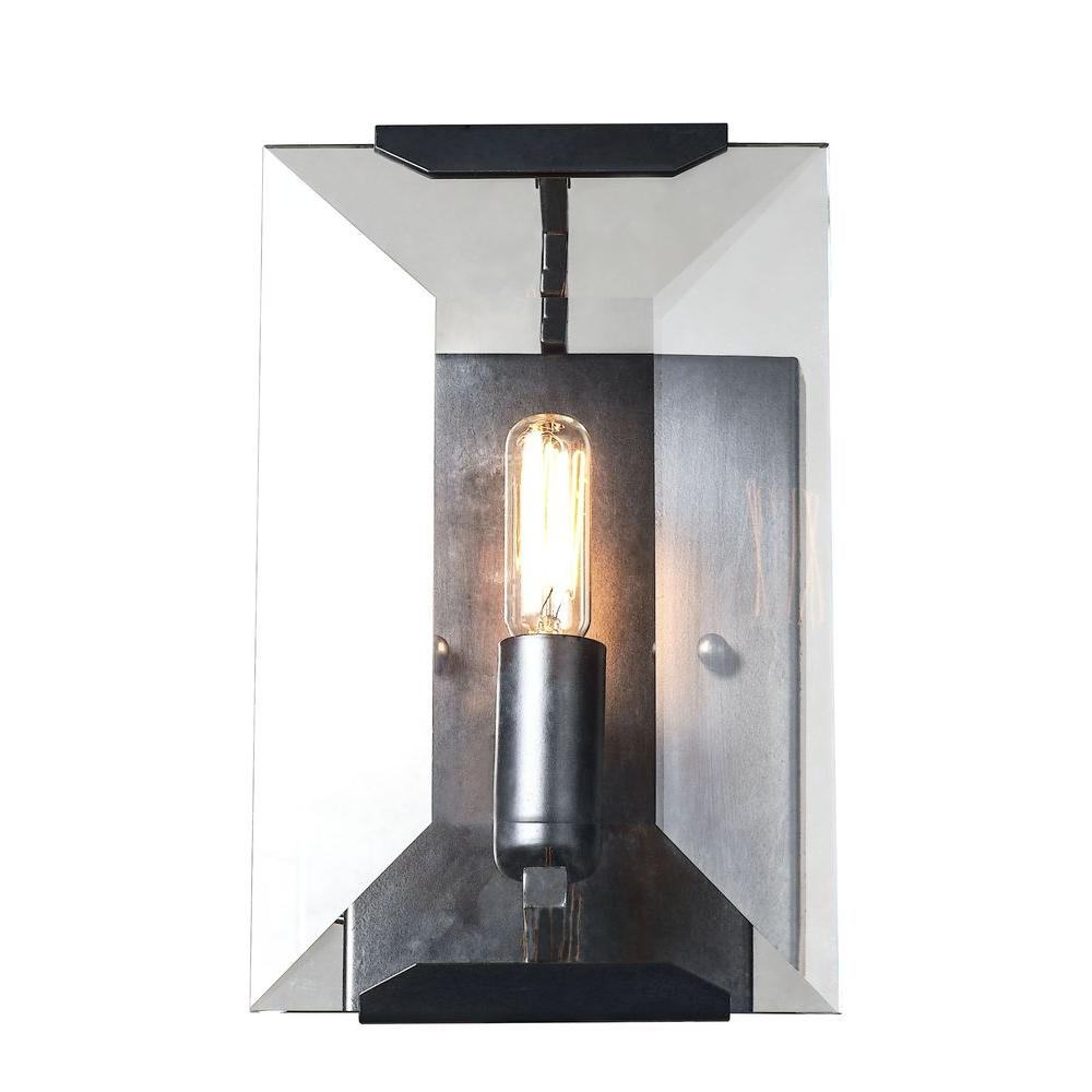 Elegant Lighting Monaco 1 Light Flat Matte Black Glass Crystal Wall Sconce