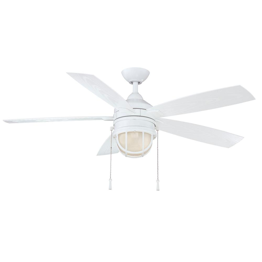 Hampton Bay Seaport 52 in. LED Indoor/Outdoor White Ceiling Fan ...