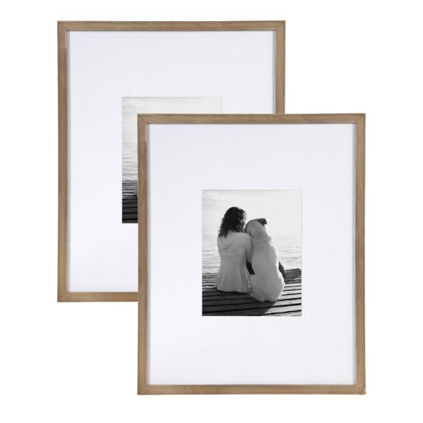 DesignOvation Gallery 16x20 matted to 8x10 Rustic Brown Picture Frame Set