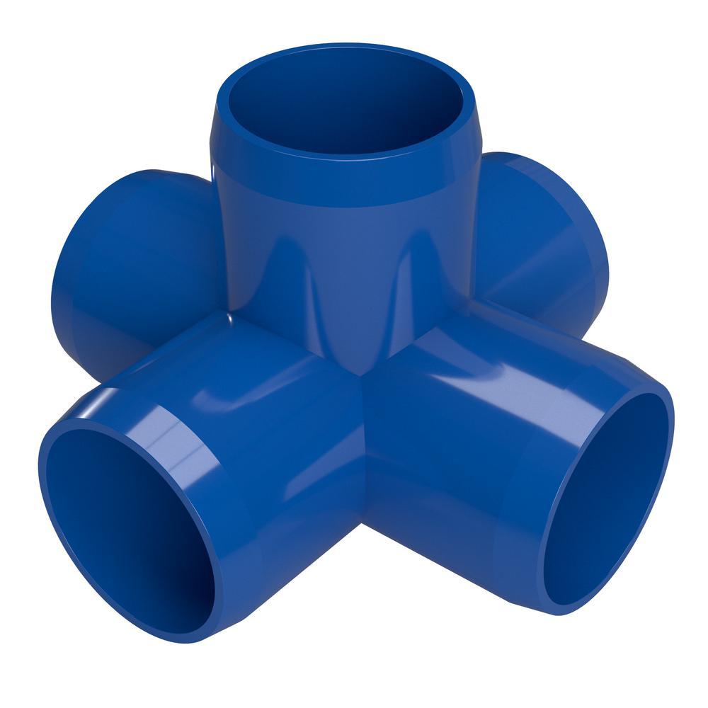 1-1/4 in. Furniture Grade PVC 5-Way Cross in Blue (4-Pack)