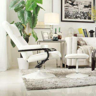 Hawkins White Faux Leather Swivel Chair with Ottoman & Reclining - Accent Chairs - Chairs - The Home Depot islam-shia.org