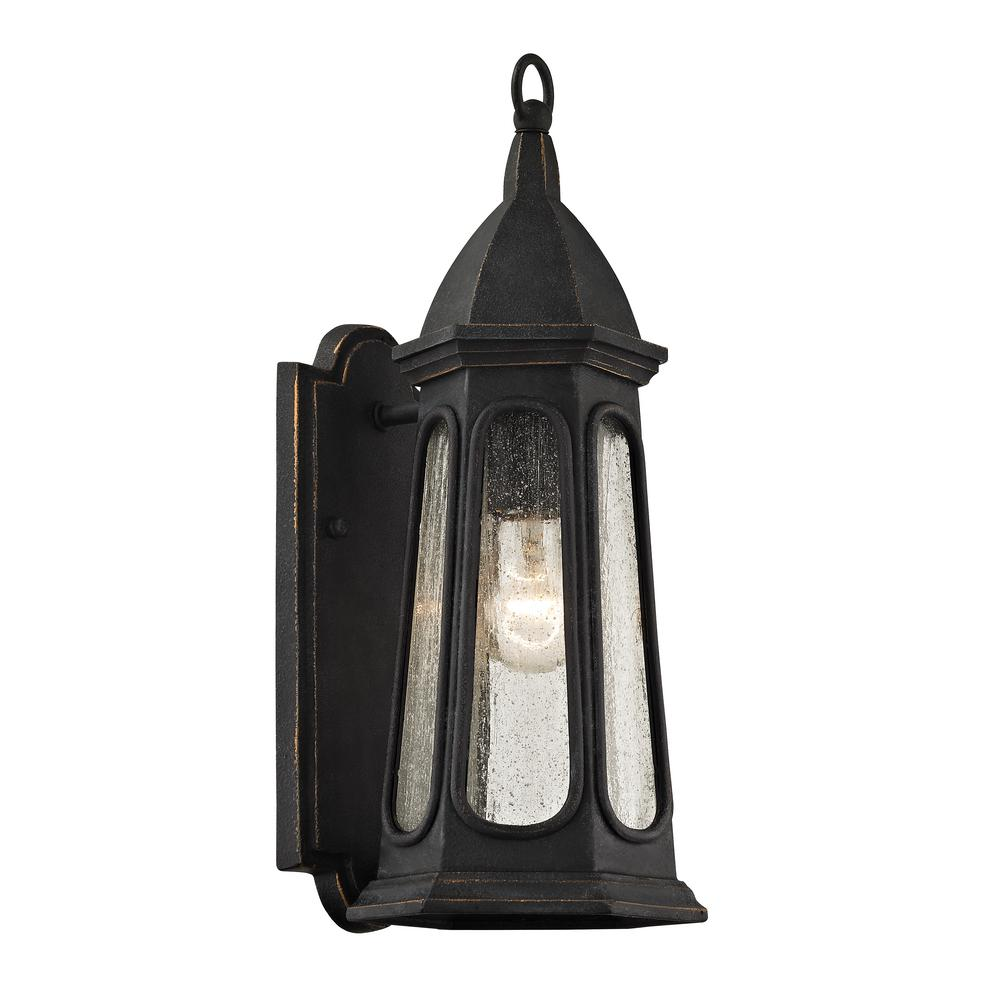 Troy Lighting Astor 1-Light Vintage Iron 15.75 in. H Outdoor Wall Lantern Sconce with Clear Seeded Glass