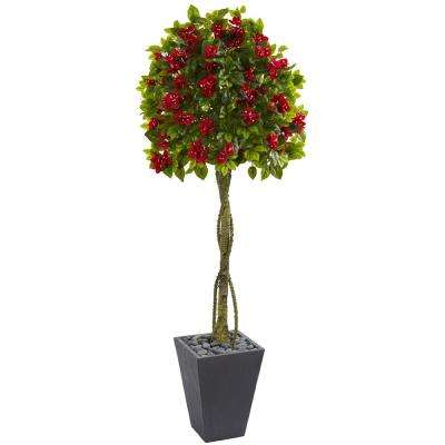 6 ft. High Indoor Bougainvillea Artificial Tree in Slate Planter