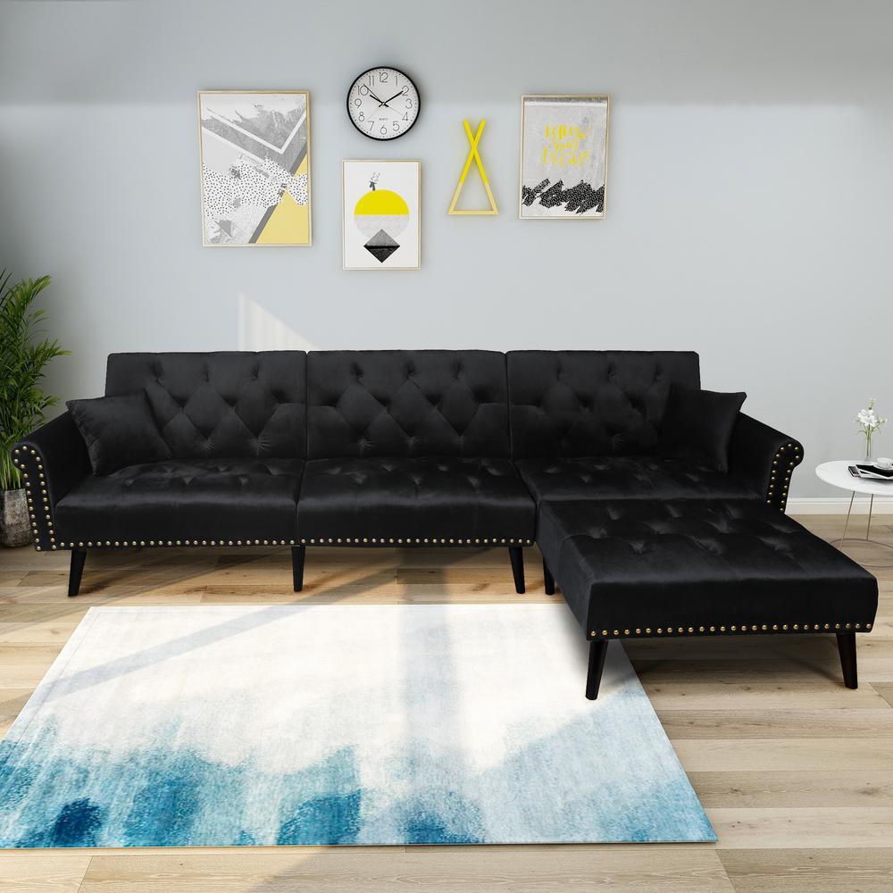Black 2-Piece Modern Vintage Futon Sofa Bed Set
