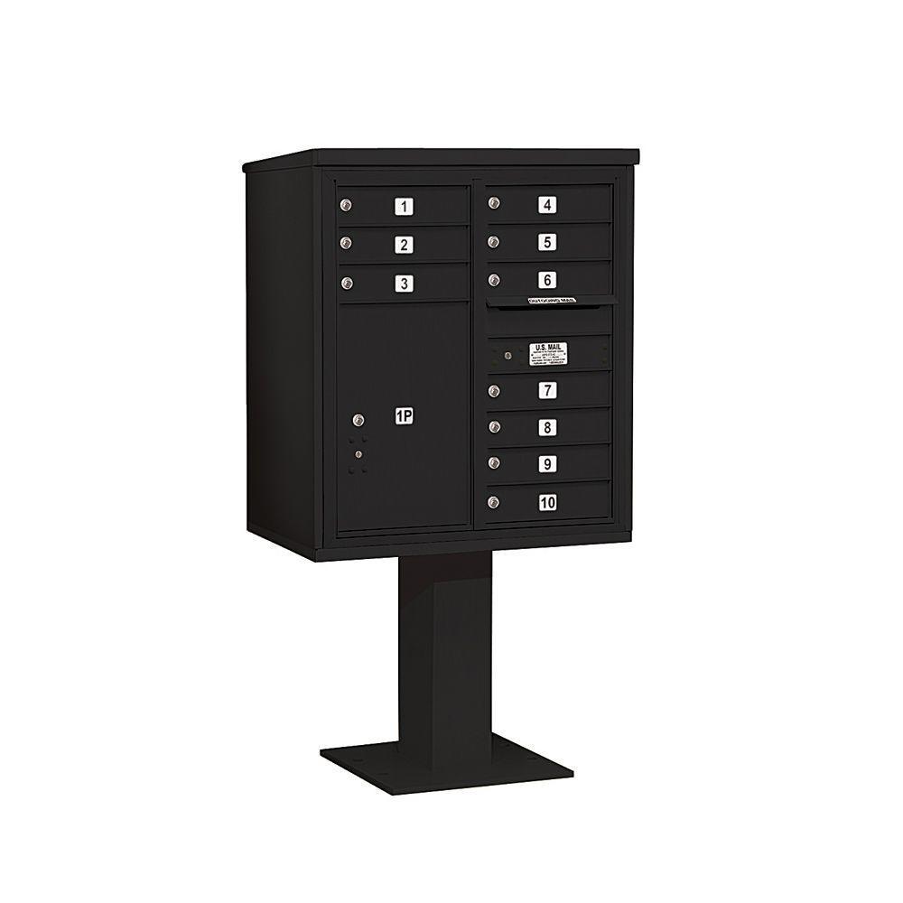 3400 Series Black Mount 4C Pedestal Mailbox with 10 MB1 Doors/1 PL6