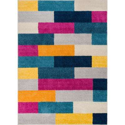 Mystic Tribeca Multi 8 ft. x 10 ft. Abstract Bold Color Blocks Modern Area Rug